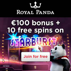 StarBurst €100 bonus + 10 free spins at Royal Panda -Join NOW
